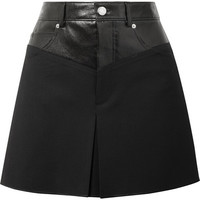 Helmut Lang - Leather-paneled wool-blend mini skirt