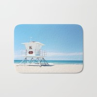 Lifeguard tower Carlsbad 35 Bath Mat by sylviacookphotography