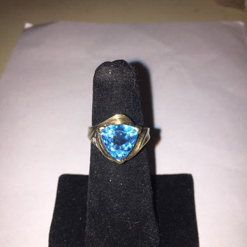 ON SALE London Blue Topaz 10K Ring Diamond 10Kt Gold Sz 6 Trillion Cut Vintage Jewelry Cocktail Christmas Birthday Anniversary Mother's Holi