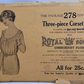 Early 1900's Titanic Era Three Piece Corset Cover Sewing Pattern Royal Society Embroidery Kit 278 Missing Instructions Bust 37 - 40