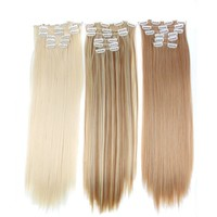 16clips Long Straight Synthetic Hair Extensions