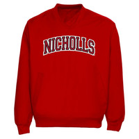 Nicholls State Colonels Arch Name Pullover Windbreaker Jacket - Red