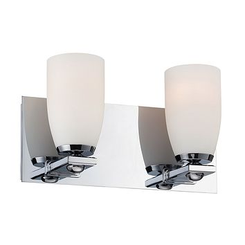 Sphere 2-Light Vanity Lamp in Chrome with White Opal Glass