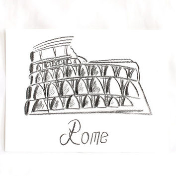 "12""x9"", Original Cities Art Drawing on paper, Rome Coliseum original painting art decor, Charcoal pencil, Wall Decor, Office gifts"