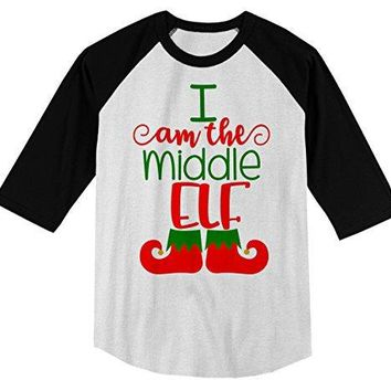 Shirts By Sarah Boy's Christmas I'm The Middle Elf T-Shirt Matching Sibling 3/4 Sleeve Shirt
