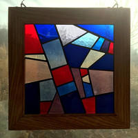 Handmade Stained Glass Abstract Crazy Quilt Traditional Appalachian Quilt Square, Blenko Mouthblown Glass