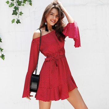 Simplee Off shoulder polka dot summer dress women Flare sleeve ruffle short dress Streetwear sash loose casual dress vestidos