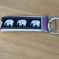 Elephant Key Ring  -  Webbing Key Holder, Gift Ideas Under 5,Gift Basket Idea,  Key Chain, Stocking Stuffer For Him, Mini Gift