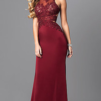 High-Neck Open Back Long Prom Dress