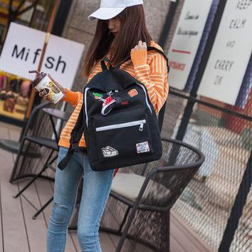 School Backpack trendy SWYIVY Backpack Canvas Bag Girl Student Print Backbag Large Capacity School Bag Woman Double Should Backpacks Bags Yellow Red AT_54_4