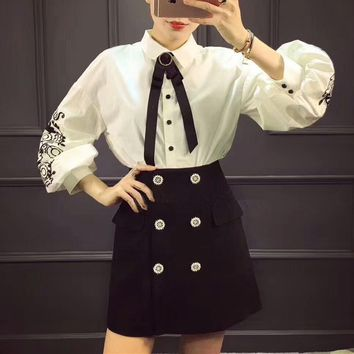 """Gucci"" Temperament Fashion Retro Embroidery Lantern Sleeve Long Sleeve Shirt Short Skirt Set Two-Piece"