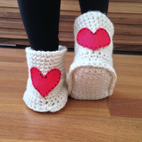 Heart Slippers Crochet Slippers Valentines Day Gift for Her Womens Slippers with Felted Heart Wool Slippers Socks House Shoes Gift For Women