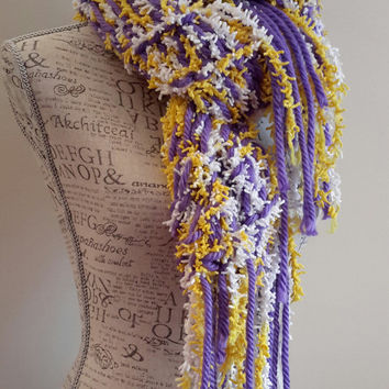 Knit Vikings inspired colored chunky scarf. purple and yellow fringed infinity scarf. by Bead G's on ETSY.