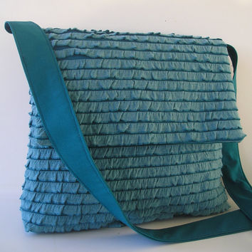 Messenger Bag in Ruffled Teal by jazzygeminis on Etsy