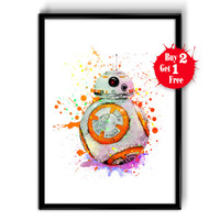 BB8 Star Wars Movie Poster, Star Wars Poster, BB-8 Star Wars 7 Art Print, Watercolor Star Wars, Watercolor Painting Wall Hanging, BB