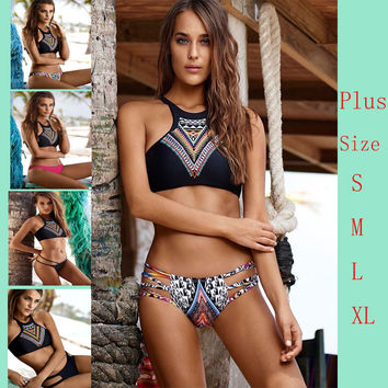 Sexy bikini!2016 New Design Push Up Women High Neck Bikini Geometry Bath Suit ,Slim Bottom Tankini Swimwear 1559