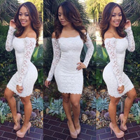 Lace sexy slinky dresses spring summer fashion casual full sleeve solid sheath dress plus size women = 1931415108