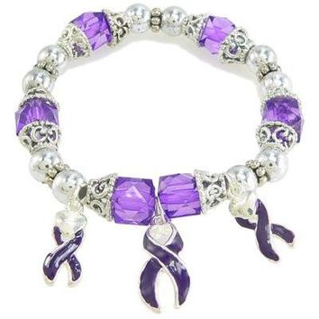 Purple Enameled Ribbon Awareness Bracelet