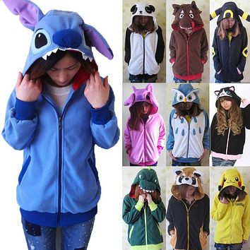 Women 3D Cartoon Animal Hoodies Costume Totoro Men  Pikachu with Ears Face Eyes Sweatshirt Jacket Hoodies with Zip HoodKawaii Pokemon go  AT_89_9