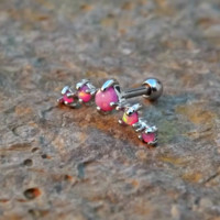 Pink Fire Opals Stud Cartilage Earring 5 Fire Opals Piercing16g  Upper Ear Jewelry