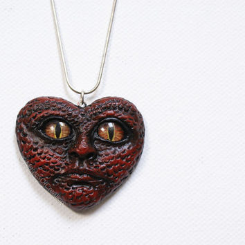 Love is reptile: OOAK heart pendant completely handmade! One of a kind dark red heart pendant, original goth art jewelry