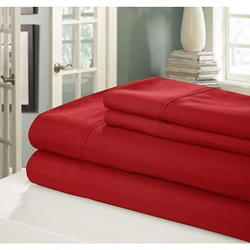 Regal Comfort Bamboo Luxury 2100 Series Hotel Quality Sheet Queen Red