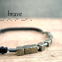 BRAVE, secret message bracelet, personalized jewelry, meaningful gift idea for him, boyfriend, morse code men, inspirational quotes,