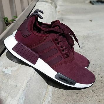 """Adidas"" NMD Burgundy Boost Casual Sports Shoes"