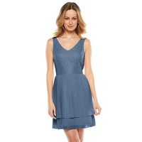 LC Lauren Conrad Pleated-Chiffon Lace Dress - Women's