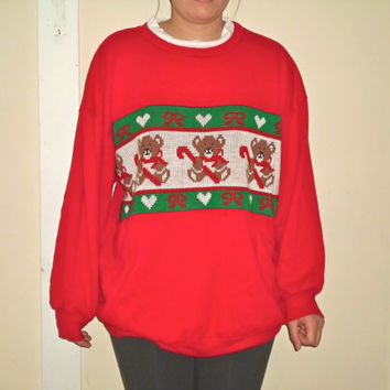90s Ugly Christmas Crewneck Teddy Bear Candy Cane Knitted Sweater Pullover