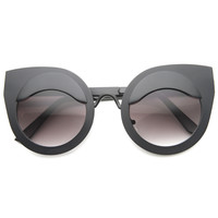 Women's Trendy Round Cat Eye Lid Metal Sunglasses A002