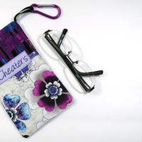 Cheaters purple flower eyeglass case with hanging loop and Velcro tab closure