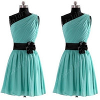 2014 Green One-Shoulder Waistband Flower A-Line Short Ruffled Bridesmaid Dress,Knee Length Chiffon Evening Prom Dress