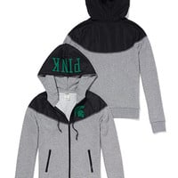 Michigan State Colorblock Zip Hoodie - PINK - Victoria's Secret