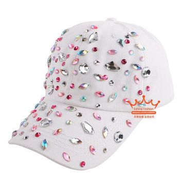 LMFUS4 Beauty caps new design popular women rhinestone star denim baseball cap fashion brand woman jean crystal hip hop snapback hats