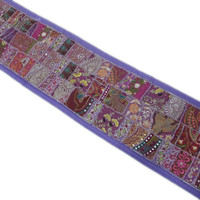 Blue Indian Vintage Patchwork Runner Tapestry