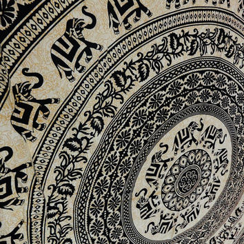 Elephant Mandala Tapestries, Bohemian Tapestry Wall Hanging, Psychedelic Wall Decor, Dorm Tapestry, Queen Bedspread, Tapestry Bedding