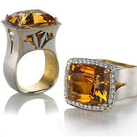 AMAZING 16.25CT TOPAZ CUSHION 925 STERLING SILVER ENGAGEMENT AND WEDDING RING
