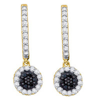 Black Diamond Fashion Earrings in 10k Gold 0.49 ctw