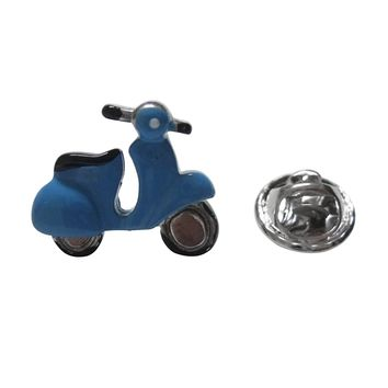 Blue Moped Scooter Lapel Pin