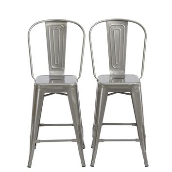 "24"" Clear Metal Antique Rustic Counter height Bar Stool Chair High Back Set of 2"