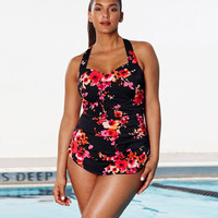 Floral print Swimming Suit Plus Size  full figure Swimwear pleated Push Up Bra  Bathing Suit