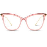Kinsley - Oversized Metal Clear Lens Cat Eye Glasses For Women