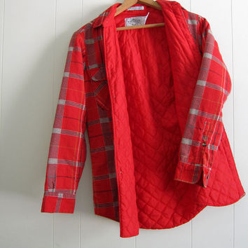 Vintage Mens Grunge Quilted Flannel Work Chore Shirt Jacket red farm hunting S
