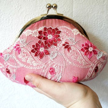Pink clutch, small clutch purse wristlet, pink silk clutch with floral lace overlay, personalized clutch,