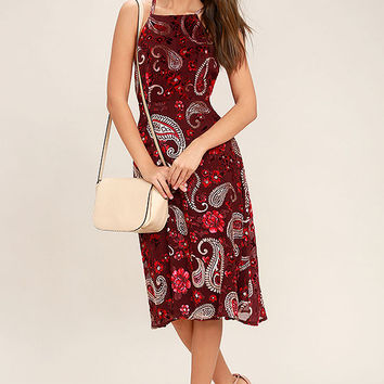 Unforgettable Encounter Burgundy Velvet Print Midi Dress