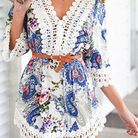 Blue and Pink Paisley Print Lace Embellished Dress