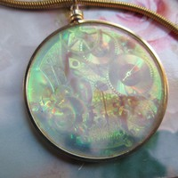 Vintage Lasered Hologram Steampunk Necklace