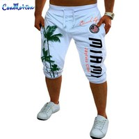 Personalized Coconut Tree Printing Men's Fashion Casual Sweatpants New Arrive Brand Clothing Bermuda Shorts