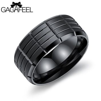 Gagafeel Vintage Engraving Customized Logo Rings For Man Jewelry Stainless Steel Black Punk Rock Style Wedding Ring